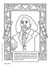 coloring page of joseph winters an african american inventor