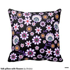 folk pillow with flowers