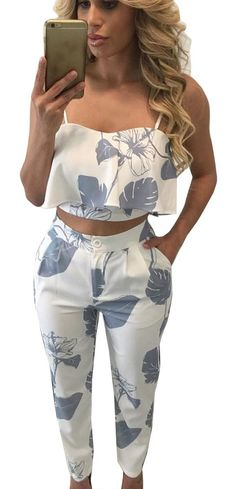 Material: Woven Fabric:97% Polyester 3% Spandex Sexy backless crop top + bodycon long pant, floral print design make you look more attractive and fashionable Occasion: suitable for casual, beach and d