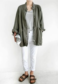 light grey tee, white jeans, military jacket