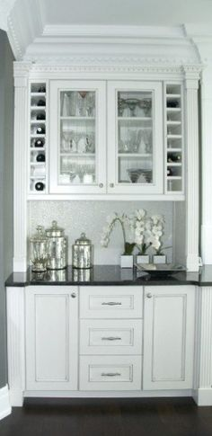 built-in bar/pantry off the kitchen Love the glass containers. She'd