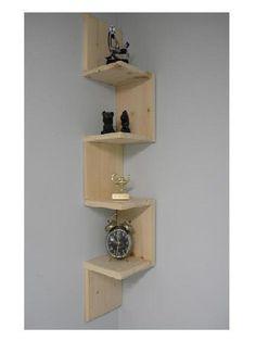 Wall mounted corner shelf Retro 4 tier zig zag shelf for bathroom shelf or any other room. by CustomWoodConcepts on Etsy https://www.etsy.com/listing/81877485/wall-mounted-corner-shelf-retro-4-tier