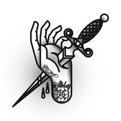 traditional knife tattoo black and white - Cerca con Google