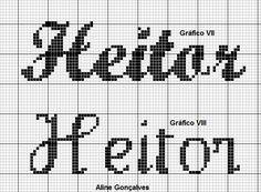 Boa tarde minha gente.....  Postando hj o nome Heitor em ponto cruz  Vou bordar 4 toalhinhas com o nome Heitor e o desenho super Mario.....v...
