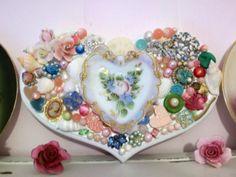 Beautifully Embellished Heart upon Heart Jewelry China Roses Sooo Shabby