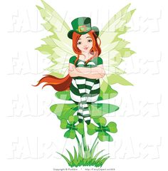 St. Patricku0027s Day Pictures | Clip Art of a St Patricks Day Fairy Sitting on
