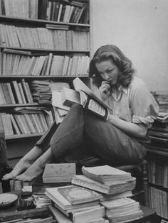 Photographic Print: French Actress Barbara Laage in Her Apartment Reading : 24x18in