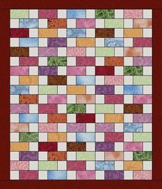Scrappy Multi Bricks Pre-Cut Fabric Quilt Kit Blocks
