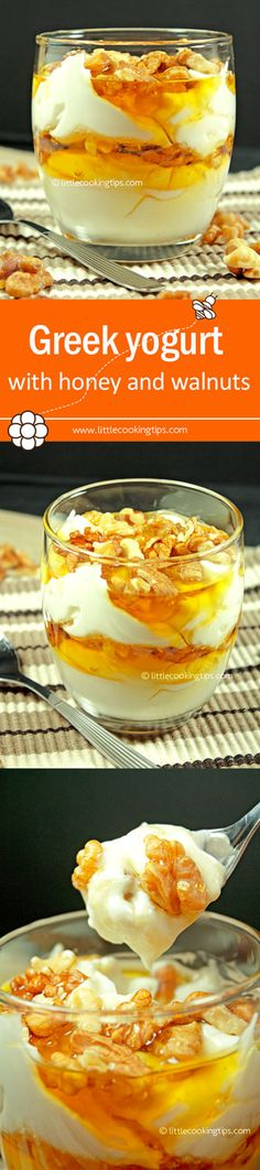 The most popular Greek dessert. Based on its simplicity it only contains 3 ingredients and doesn't require cooking or baking. Refreshing, healthy and delicious it's the perfect way to end any meal.  Repin to your own inspiration board! #Greek #yogurt #honey #dessert