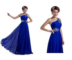 Elegant Blue Long Prom Dresses With One Shoulder Prom Dresses | Buy Wholesale On Line Direct from China