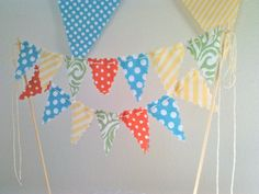 Cake topper Bunting Flags Coral Yellow Aqua and Sage by BooBahBlue, $20.00