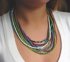 African trade bead necklace, with a couple strands of Indian trade beads
