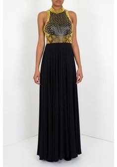 Jovani - 'Gold Spike' Dress Black Front (92827A) | Sleeveless Jovani jersey dress with sexy slit features studded detailing at top bodice.