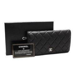 CHANEL Matelasse Wallets Black Leather A31509
