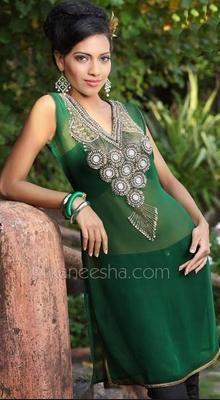 Green Georgette Indian Kurti Top
