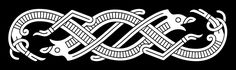 Jelling Style Ornament II Two S-shaped ribbon-animals intertwined – A type of motif which is seen on the Jelling cup (from which the Jelling style got its name) and some harness-bows from Mammen.