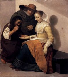 van Velsen was a Dutch Golden Age painter. Little is known about the painter's life. He lived his entire life in Delft, but died in Amsterdam. He was the son of Jan Jacobsz van Velsen and Janntegen Jansdr van der Hooch. 17th Century Clothing, 17th Century Fashion, 18th Century, Gypsy Fortune Teller, Dutch Golden Age, Dutch Painters, Fortune Telling, Dutch Artists, Tarot Reading