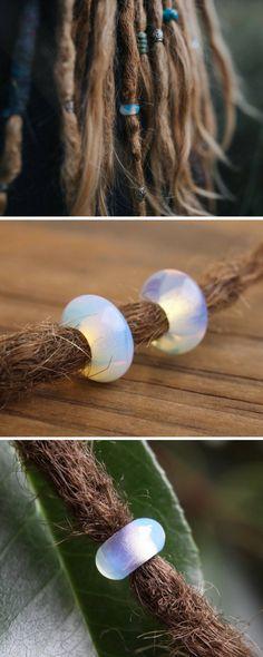 Opalite Dreadlock Beads - Beautiful shining Dread Beads - Gemstone Dreadlock Beads - Small Hole Dread Beads - Stunning Hair Beads - Dreadlock Jewelry - Jewellery - Dread Accessory - Pretty Dread Beads - #dreadbeads #dreadlockbeads #dreadjewelry #dreadlocks #dreads #dreadaccessory #beadsfordreads