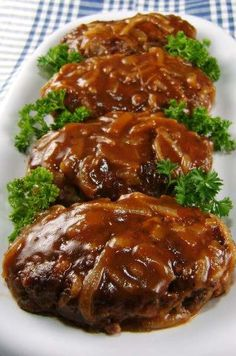Salisbury Steak With Caramelized Onion Gravy.  This was a great dish, will making this again for sure.