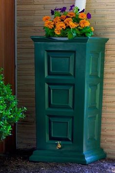 """55 Gallon capacity rain barrel w/sturdy brass spigot.Column shape adds style to your rain harvesting.Self draining planter top.Mesh screen blocks debris and insects.Flat back design sits tightly against any outside wall.Routed channel diverts excess water to the front of the barrel.1 year limited warranty.Free Standard Shipping!Dimensions: 21"""" L x 21"""" W x 41"""" H. Price $154.99"""