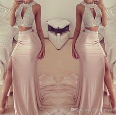Shinny Glitz Gold Sequined Two Pieces Prom Dresses Beaded Halter Key Hole Neck Long Split Evening Dresses Sexy Party Gowns Ba2418 Ghetto Prom Dresses Ivory Prom Dresses From Factory Sale, $224.13| Dhgate.Com
