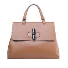 Gucci Bamboo Daily Leather Top Handle Bag 370830 Apricot - $259.00