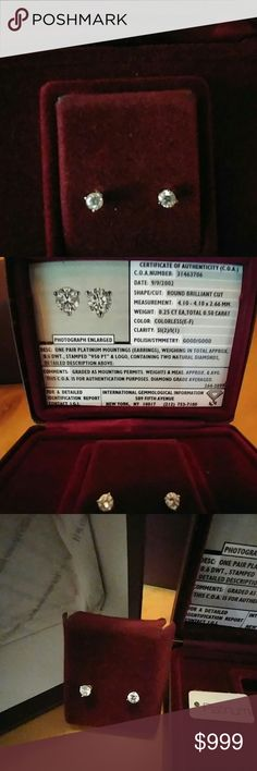 Helzberg Platinum 1/2 ct. tw 3 prong stud earrings Round brilliant cut diamonds in a 3 prong Platinum stud.  Color is colorless (E-F).....clarity is. SI(2)/I(I).  Comes with Certificate of Authenticity. Purchased 2003 never worn. Helzberg Jewelry Earrings