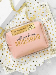"""#sponsored This 24-piece Be My Bridesmaid Kit pops the question and saves the day, all in one gorgeous package. Proposal box removes to reveal a gold foil-stamped """"bridesmaid"""" pouch beneath. #wedding #bridesmaids #bridesmaidproposal #maidofhonor #weddingideas"""