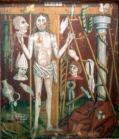 A wooden painted altar wing, 1468, portraying Christ as the Man of Sorrows with the Arma Christi (Instruments of the Passion). (Vorarlberg Museum, Bregenz, Austria, via Institut für Realienkunde via Europeana)