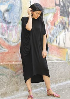 RAYA black extravagant loose asymmetrical dress/ plus size tunic / oversized / one size dress on Etsy, $65.00