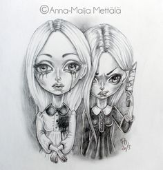 Two Sides of the Same Coin by Mai-Ja on DeviantArt Emo Art, Goth Art, Creepy Pictures, Creepy Art, Photoshop Cs5, Pop Surrealism, Dark Art, Illustration Art, Illustrations