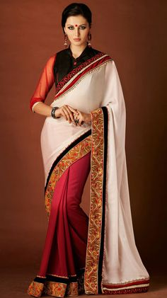 USD 49.94 White Chiffon Embroidery Party Wear Saree 42785