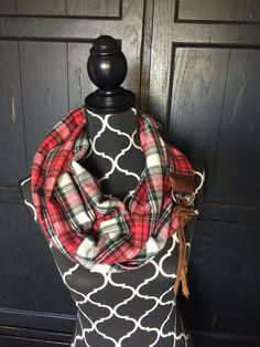 Plaid Flannel Leather Fringe Infinity Scarf by KutKloth on Etsy