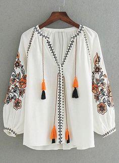 Flower Embroidery Tassel Tie Blouse SheIn(Sheinside) is part of Women shirts blouse - Kurta Designs, Blouse Designs, Hijab Fashion, Boho Fashion, Fashion Dresses, Tie Blouse, Long Blouse, Indian Designer Outfits, Designer Dresses