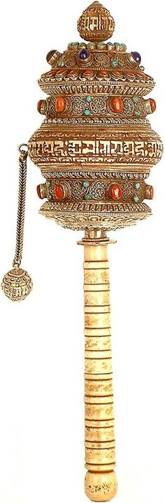 Superb Ornate Tibetan Buddhist Prayer Wheel - Om Mani Padme Hum