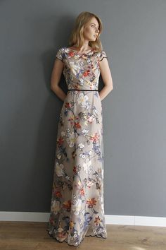 This stunning maxi evening gown, made of high quality fabric, will adorn any womens wardrobe. You will feel like a queen attending any kind of celebration. The flowers are the threads on a high quality tulle. The dress holds its form and does not need an ironing.  The lace dress is transparent, and underlined with black satin underdress which you can wear as a separate dress. --------------------------------------------------  Sizes: XS/34/US4: bust: 80-84 31.5-33 waist: 60-64 cm 23...