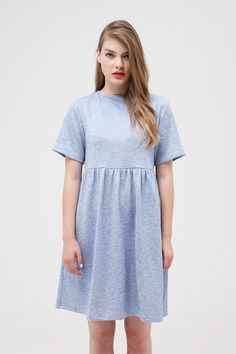 Metallic Jersey Smock Dress Blue (SALE) www.thewhitepepper.com/collections/dresses/products/metallic-jersey-smock-dress-blue