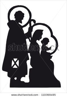 Nativity scene with Jesus, Mary, Joseph silhouette by Milena Moiola, via ShutterStock