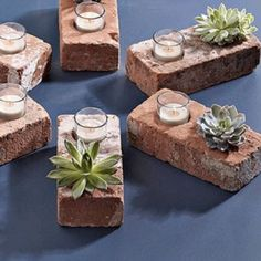 Recycled brick candle holders. These would make great summer lighting in the garden!