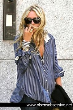 mary kate olsen... button up + bangles