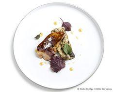 Foie gras poêlé au caramel de cidre, tombée de cèpes au cumin, shiso rouge Le Boudin, Caramel, Plates, Restaurants Gastronomiques, Grand Chef, Guide, Tables, France, Simple