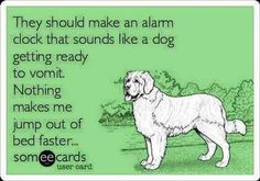 Dog vomiting alarm clock? Yup, it would work.