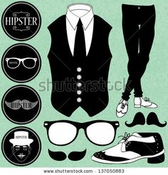 Set of various hipster style elements by paw, via Shutterstock