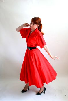 Sale  Red Shirtdress Shirt Dress 50s Style Mad Men by gogovintage, $32.00