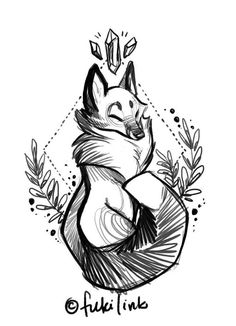 New ideas drawing tattoo animal fox illustration Fox Drawing, Drawing Sketches, Art Fox, Fuchs Tattoo, Art Du Croquis, Drawn Art, Illustration Vector, Image Clipart, Desenho Tattoo