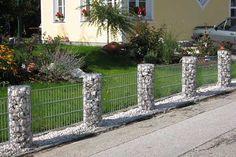 Zäune mit Gabionen - Rundsäulensystem