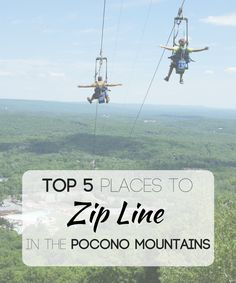 Soar through the trees, take in all the mountains, and zip, zip, zip! Zip lining is one of the most popular activities in the Pocono Mountains. #PoconoMtns