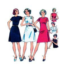 Aline Day Dress Simplicity 6080 Fit and Flare Back Zipper Midi Length with Bodice Fitting Darts Sleeveless or Short Sleeve Round Neckline by FindCraftyPatterns on Etsy