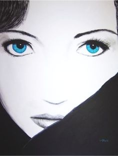 Blue Eyes — $390.00    80cm x 100cm Blue eyes Acrylic on canvas Black and white painting with the focus on the blue eyes.