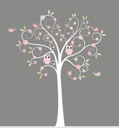 New Design Vinyl Wall Decal Stickers Swirl Tree Owl Set Nursery - Custom vinyl wall decals for nursery